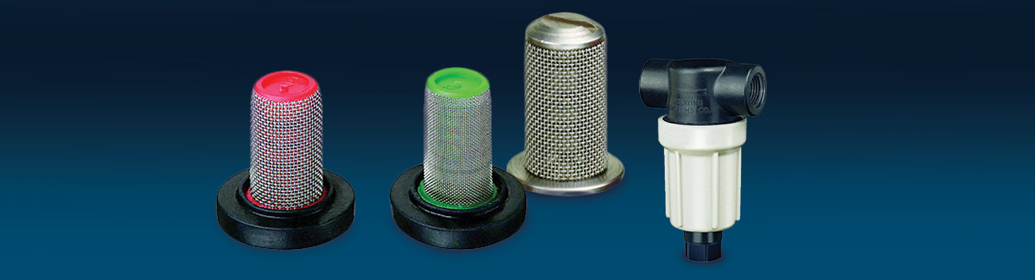 Protect spray tips and lines from clogging with TeeJet strainers.